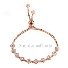 EXQUISITE 18kt Rose Gold Plated CZ Crystals Clover Clovers Links Chain Bracelet