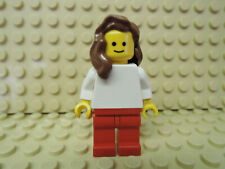 LEGO PERSONAGGIO DONNA BIANCO GIACCA PANTALONE ROSSO CAPELLI CASTANI pln113 CAFE Corner 10182