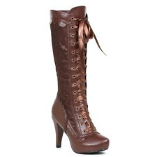 """Ellie Shoes Steampunk Victorian Brown Costume 4"""" Heels Boots shoes 414-MARY"""