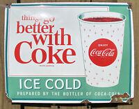 VINTAGE COCA COLA SODA PORCELAIN SIGN SOFT DRINK COKE GAS STATION USA PETROLIANA
