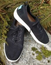Toms Mens US Size 9 Del Rey Black Poly Canvas Sneaker Casual Shoes NEW! $89 MSRP