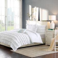 Beautiful White Grey Ruffles Design 5 pcs Full Queen Comforter Set Twin XL 4 pcs