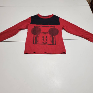 Mickey Mouse Disney Boys Graphic T-shirt Red Colorblock Long Sleeve Crew Neck XS