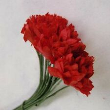 20 8MM RED & GYPSO FLOWERS  FOR CARDS OR CRAFTS