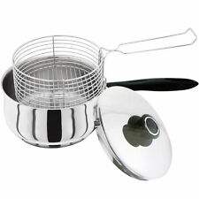 3PC STAINLESS STEEL 20CM CHIP PAN CHIPPAN FRYER POT WITH LID & BASKET NEW
