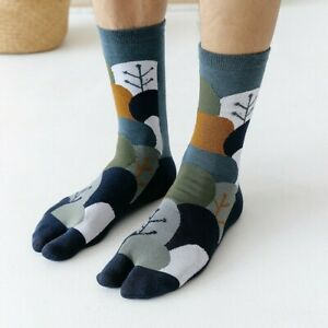 4 Pairs Men Cotton Tabi Socks Split Two Toes Spotted Striped Japanese Style Soft