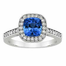 1.75 Carat Cushion Cut Sapphire Gemstone Diamond Ring 14K White Gold