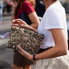 Gold Sequins Clutch Dazzling Sparkle Evening Bag Wallet Envelope Handbag