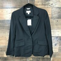 New Talbots Petities Women's Black Stretch Single Button Blazer Size 6P