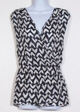 NWT DONCASTER  Women's Black & White 100% Silk Sleeveless Blouse Top 22W Plus
