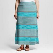 Ava & Viv Plus Size Turquoise Gray Striped Maxi Long Skirt New NWT 4X 28W 30W