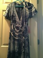 Forever 21 Women's Blue Tie dye Wrap Maxi dress size small
