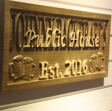 wpa0206 Name Personalized PUBLIC HOUSE Bar Pub Wood Engraved Wooden Sign