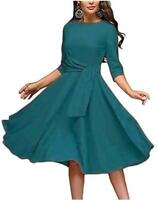 Women's Elegance Audrey Hepburn Style Ruched Dresses, Acid Blue, Size Medium fpE