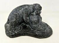 VTG Canada Aardik Art Carved Soapstone Bear & Cub Family Figurine Sculpture TT20