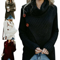 US Women Winter High Neck Knitted Sweater Jumper Cardigan Pullover Outwear Top