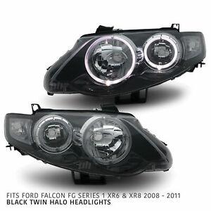 Headlights Black Halo PAIR fits Ford Falcon FG XR6 XR8 FPV GS 2008 - 2011