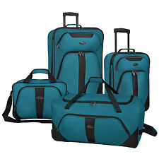 US Traveler Oakton 4pc Teal Rolling Luggage Suitcase Duffel Travel Tote Bag Set