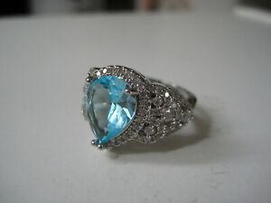 Ring mit Edelstein, Aquamarin, echter Stein, Edelsteinring, Silber, blauer Stein