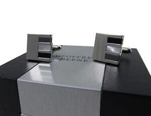 Geoffrey Beene Men's Cufflinks Silver, Black & Clear/White Triple Wide Dash