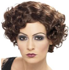 20s Ladies Flirty Flapper Fancy Dress Wig Charleston wig Brown New by Smiffys