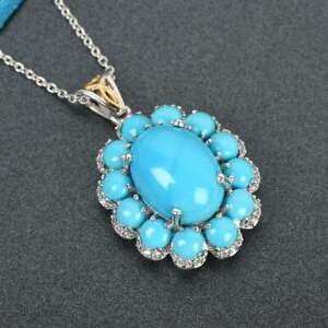 "Beauty Turquoise & Diamond 7.58 Ct Pendant 18""Chain Necklace 18K White Gold Over"