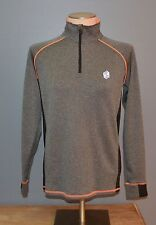 BKE Sport Women's Activewear Top Small S Gray Orange Buckle Jacket Pullover