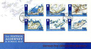 Alderney 2017 FDC 1st Ed Alderney & Burhou Map 6v Cover Geography Maps Stamps