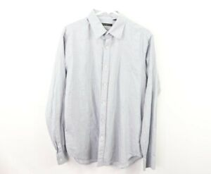 Theory Mens Large Lightweight Striped Long Sleeve Button Front Dress Shirt Gray