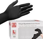 10-2000 Black Vinyl Gloves Powder Free, Latex & Nitrile Free-S M  L XL