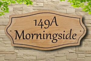 Personalised Oak Custom House Name Plaque Wooden Carved Number Sign Outdoor