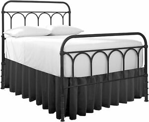 Ruffle Bed Skirt With Split Corner Dark Grey All Size Made Brushed Microfiber