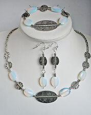 3 er set gioielli, pietra di Luna OPALE Accessorio di pietre, Argento Tibet,