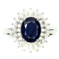 925 Sterling Silber Ring, Weißgold beschichte 7 x 9 mm. Saphir & Cubic Zirconia