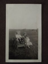 YOUNG BOY IN WHEEL CHAIR WITH MOTHER & SISTER Vintage 1920's PHOTO
