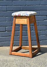 Vintage industrial wooden stool funky retro