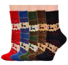 Women's Merino Wool Crew Socks Thick Winter Reindeer, 5-Pair Pack , Shoe 5-9