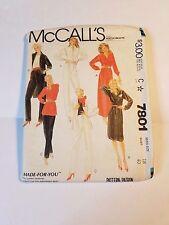 McCall's 7801. UNCUT, Vintage 1981, Misses' Dress, Tunic, Shirt & Pants, Size 18