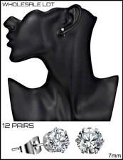 WHOLESALE LOT 24 Silver Studs Cubic Zirconia EARRINGS EAR Jewelry 12 PAIRS 7mm