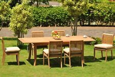 """7-Piece Outdoor Teak Dining Set: 94"""" Rectangle Extn Table, 6 Armless Chairs Giva"""
