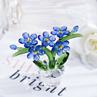 Forget-me-not Crystal Flowers Figurine Christmas Ornament Paperweight Collection