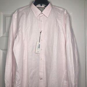Thomas Pink Mens Linen Blend Pink White Striped Luxury Casual Dress Shirt Large