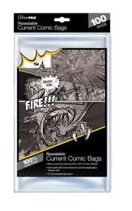 100 Pockets Ultra Pro Resealable Current Comic Size Bags 174 x 10 15/32in 82225