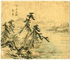 Rare Antique Drawing-MOUNTAIN LANDSCAPE-LAKE-CHINESE PAINTING-Anonymous-c.1900