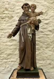 Exceptional Early 1900's Signed 39'' Carved Sculpture Statue St Anthony & Jesus