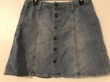 Mossimo Target Woman Size 14 Denim Skirt Button Front Mini Length Blue Cotton