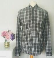 COS Shirt Size Medium GREY Green WHITE | Mens CHECK Smart Casual 100% COTTON