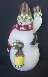 Snowman Candle Molded w Ice Skates Scarf and Lantern Unused 8 inch Christmas