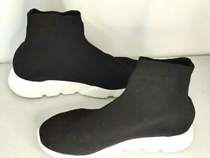 Black Woven Speed Sock Runner High Top Trainers EU45 (UK10) in good condition