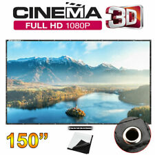 """New listing Projector Screen 1080P 150"""" Foldable Home Theater In/Outdoor Hanging Projection"""